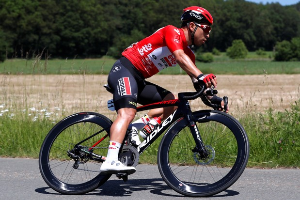 BERINGEN, BELGIUM - JUNE 13: Caleb Ewan of Australia and Team Lotto Soudal Red Points Jersey during the 90th Baloise Belgium Tour 2021 - Stage 5 a 178,7km stage from Turnhout to Beringen / #baloisebelgiumtour / on June 13, 2021 in Beringen, Belgium. (Photo by )