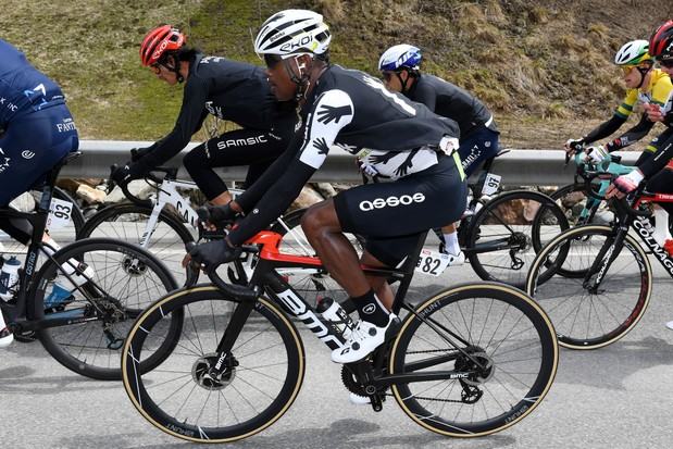 INNSBRUCK, AUSTRIA - APRIL 19: Winner Andrew Anacona of Colombia and Team Arkéa - Samsic, Nicholas Dlamini of South Africa and Team Qhubeka Assos, Guy Niv of Israel and Team Israel Start-Up Nation, Joseph Lloyd Dombrowski of United States and UAE Team Emirates during the 44th Tour of the Alps 2021, Stage 1 a 140,6km stage from Brixen to Innsbruck / @Tourof_TheAlps / #TouroftheAlps / on April 19, 2021 in Innsbruck, Austria. (Photo by )