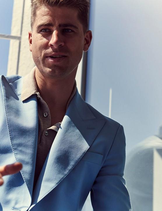Peter Sagan in a blue blazer