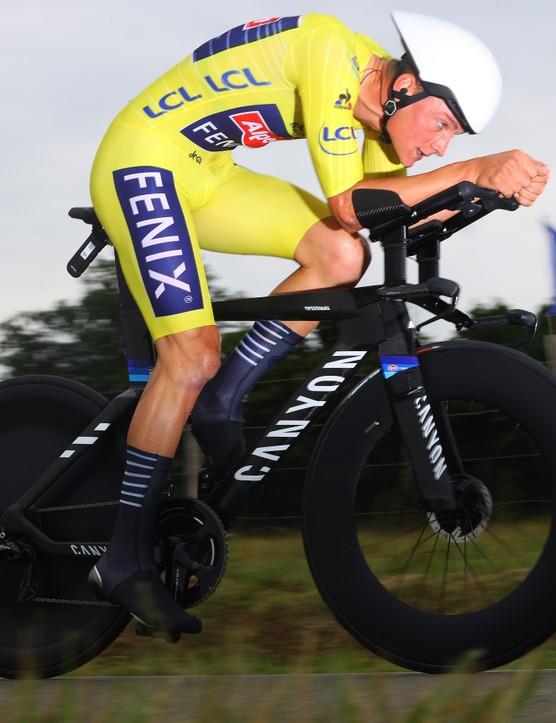 Mathieu Van Der Poel riding new Canyon TT bike