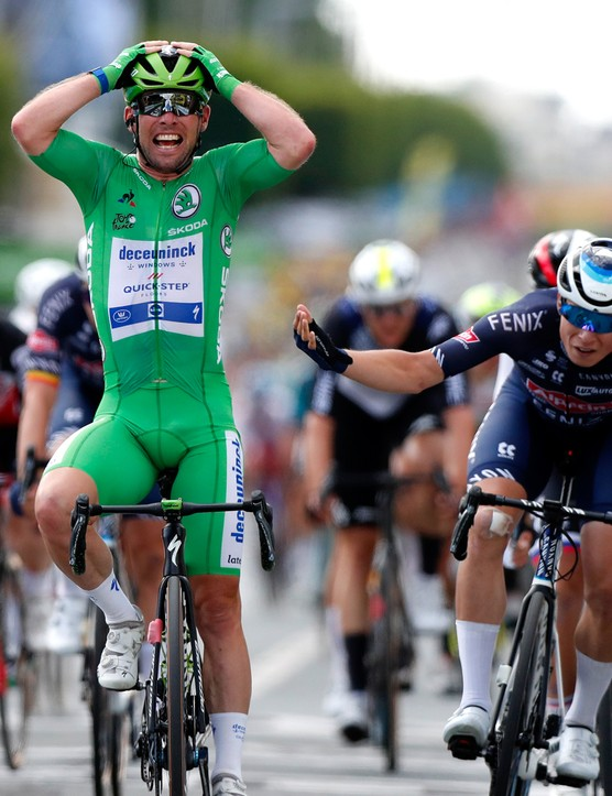 CHATEAUROUX, FRANCE - JULY 01: Mark Cavendish of The United Kingdom and Team Deceuninck - Quick-Step Green Points Jersey celebrates at arrival ahead of Jasper Philipsen of Belgium and Team Alpecin-Fenix during the 108th Tour de France 2021, Stage 6 a 160,6km stage from Tours to Châteauroux / @LeTour / #TDF2021 / on July 01, 2021 in Chateauroux, France. (Photo by Guillaume Horcajuelo - Pool/Getty Images)