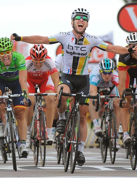 Cycling : 98th Tour de France 2011 / Stage 5 Arrival / Mark CAVENDISH (Gbr) Celebration Joie Vreugde / Philippe GILBERT (Bel)/ Jos Joaquin ROJAS (Esp) Green Jersey / Carhaix - Cap Frehel (164,5 Km)/ Ronde van Frankrijk / TDF / Etape Rit/(c) Tim De Waele | Location: Cap Frehe, France Frankrijk. (Photo by Tim de Waele/Corbis via Getty Images)
