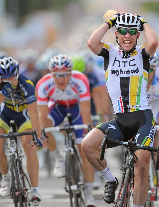 Cycling : 98th Tour de France 2011 / Stage 7 Arrival / Mark CAVENDISH (Gbr) Celebration Joie Vreugde / Le Mans - Chateauroux (218Km)/ Ronde van Frankrijk / TDF / Etape Rit /(c) Tim De Waele | Location: Chateaurou, France Frankrijk. (Photo by Tim de Waele/Corbis via Getty Images)