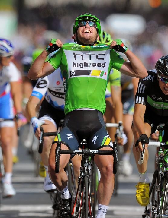 Cycling : 98th Tour de France 2011 / Stage 21 Arrival / CAVENDISH Mark (GBR) Green Jersey / Celebration Joie Vreugde / HAGEN Edvald Boasson (NOR)/ Pinerolo - Galibier Serre-Chevalier 2645m (200,5Km)/ Ronde van Frankrijk / TDF / Etape Rit /(c) Tim De Waele | Location: Galibier Serre-Chevalier, France Frankrijk. (Photo by Tim de Waele/Corbis via Getty Images)