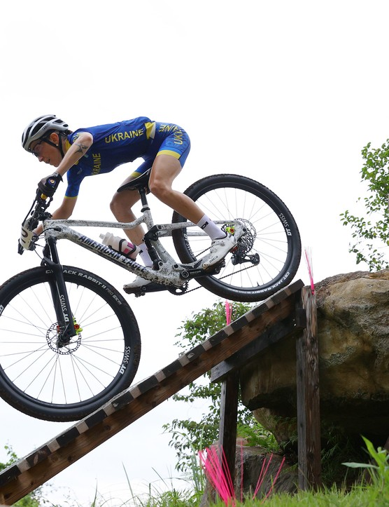 Yana Belomoina riding the women's XC race at the Tokyo 2020 Olympic Games