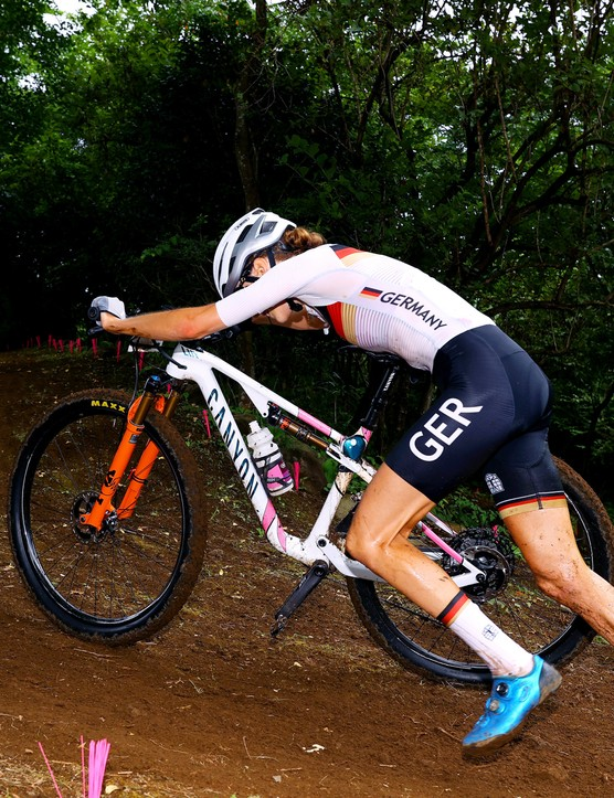 Ronja Eibl riding the women's XC race at the Tokyo 2020 Olympic Games