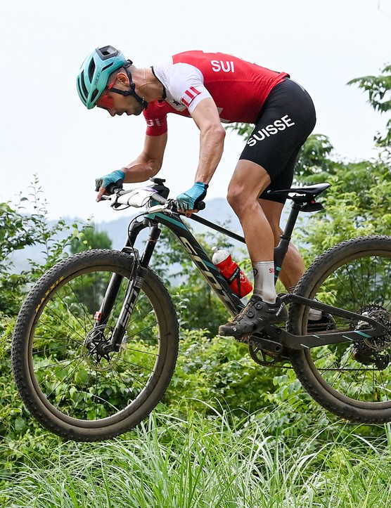 Nino Schurter riding the men's XC race at the Tokyo 2020 Olympic Games