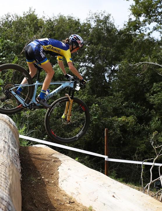 Yana Belomoina riding the Tokyo 2020 XC MTB test event