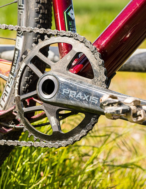 The Vaast A/1 gravel bike is equipped with a Praxis chainset