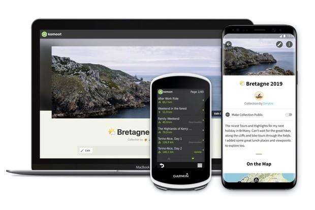 Image showing interface of Komoot premium on a laptop, mobile and Garmin