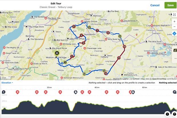 Screen grab of Komoot route planner