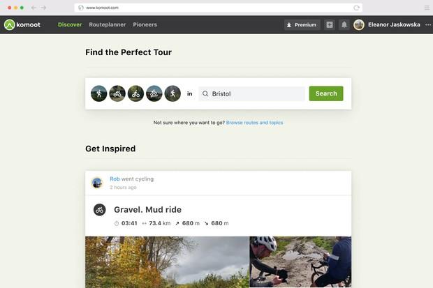 Screen grab of Komoot website search function