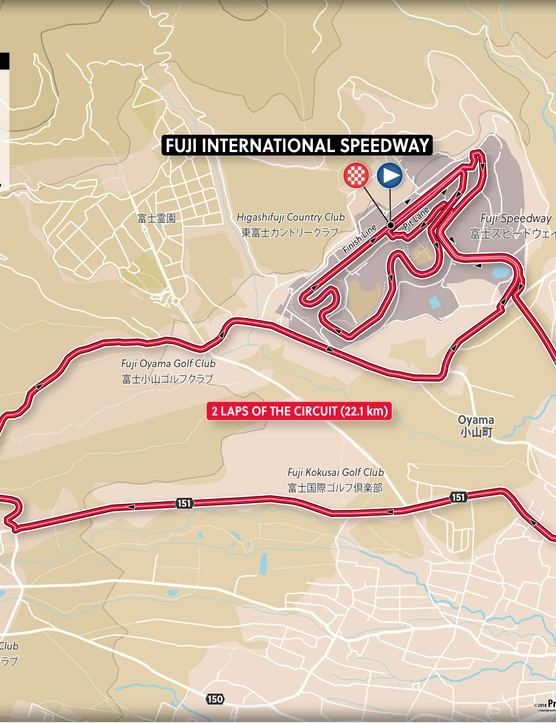The men's time trial is two laps of the 22.1km Fuji Speedway circuit.