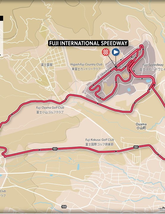 The women's time trial is one lap of the circuit at 22.1km long.
