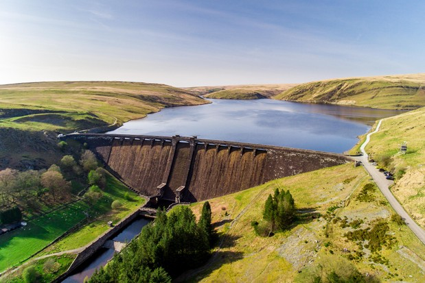Aerial view of Claerwen Reservoir and dam, in the Elan Valley, mid Wales