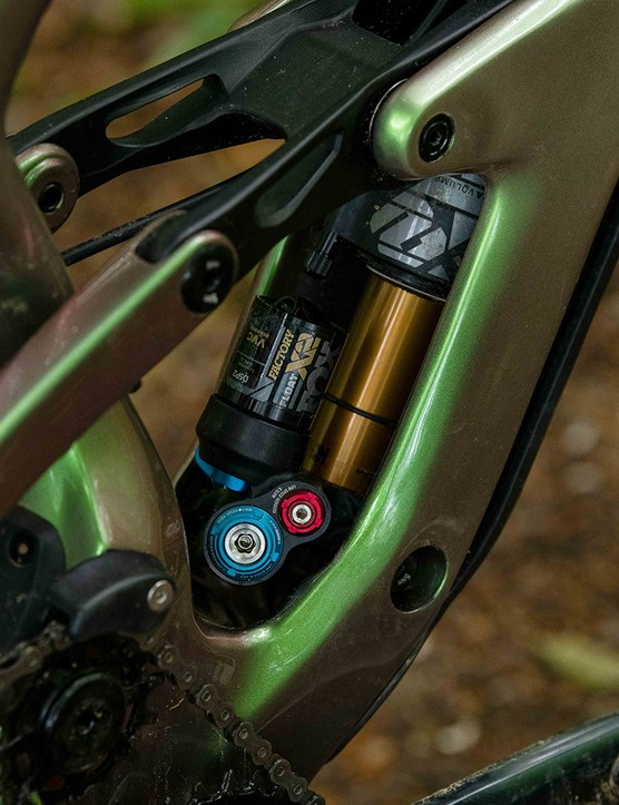 Fox Float Factory X2 shock in a 'GravityCavity' on the Cannondale Jekyll 1 enduro full suspension mountain bike