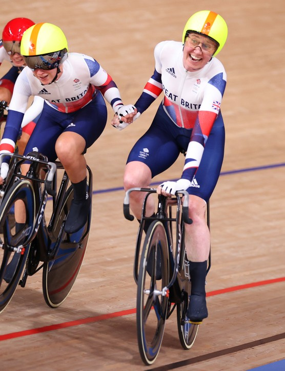 Laura Kenny and Katie Archibald of Team Great Britain