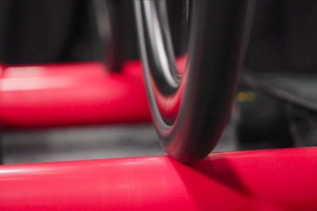 Road bike tyre on roller