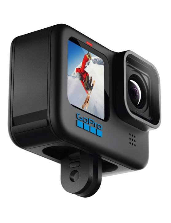 GoPro Hero 10 Black product shot showing folding out fingers