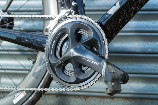 Vitus ZX-1 EVO 105 road bike is equipped with a Shimano's 105 groupset