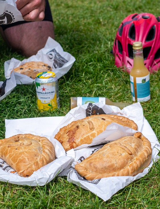 A stop for pasties in Porthleven during a recce ride of Cycling UK's West Kernow Way, June 2021. The 230km route is part of the EU-funded EXPERIENCE project to develop sustainable year-round tourism activities in Cornwall.