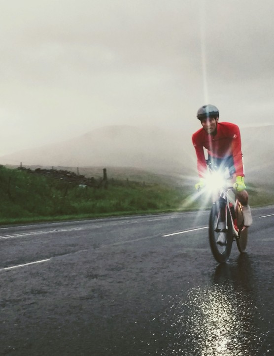 Michael Broadwith climbing Shap Fell in the early hours of the morning.