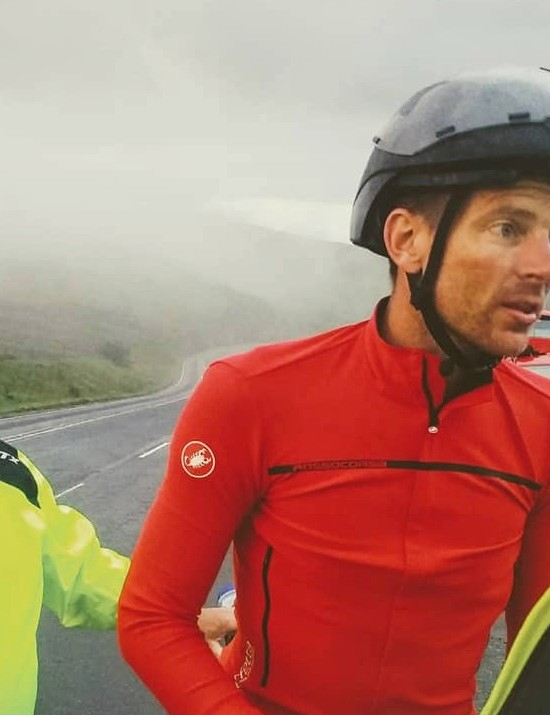 Michael Broadwith stopping at the top of Shap Fell