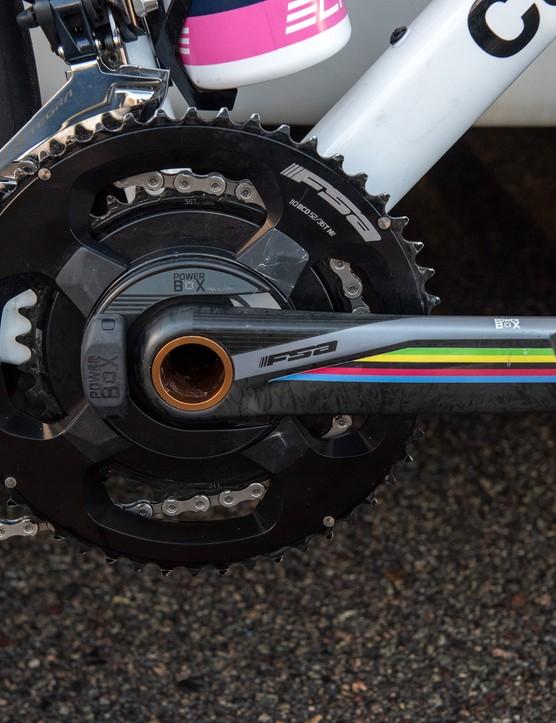 Elisa Balsamo's cranks with rainbow detailing