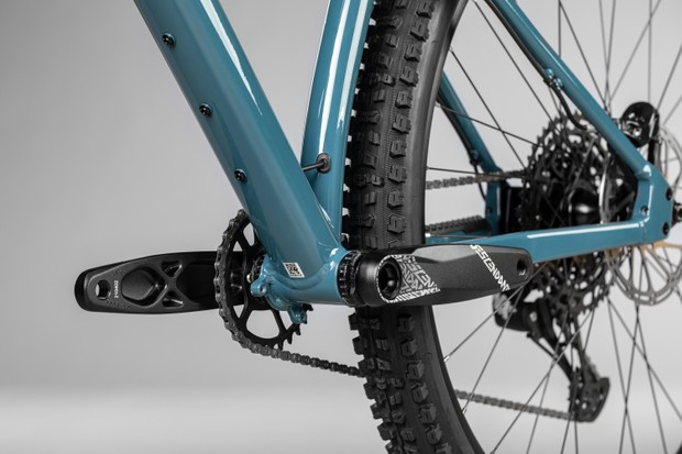Triple loading brackets under the down tube add to the versatility of the bike, as do the chain guide brackets.
