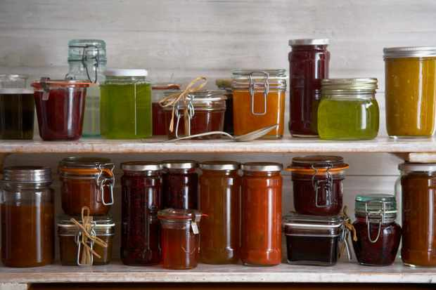 Jams and preserves in glass jars