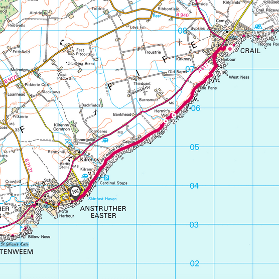 Crail to Anstruther map