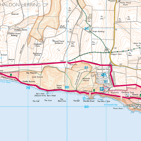 Lulworth Cove and Durdle Door map