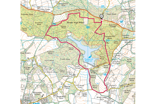 Brede High Woods map