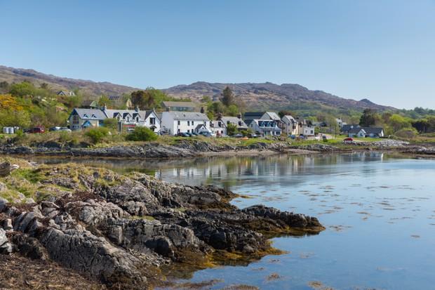 Scottish coast village of Arisaig Scotland uk south of Mallaig in Scottish Highlands
