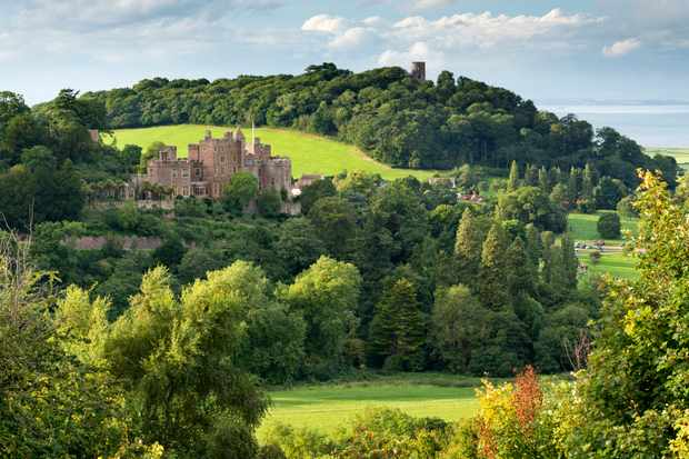 Dunster Castle and Conygar Tower in Exmoor National Park, Somerset