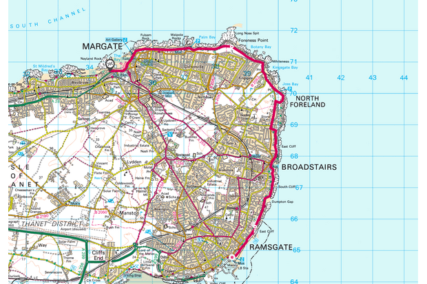 Ramsgate to Margate map