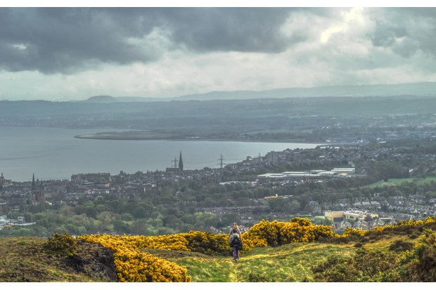 A view of Portobello and the Pentland Hills from Arthur's Seat