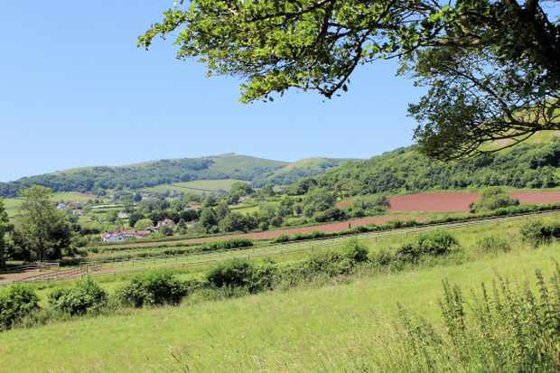 View of Wavering Down and Crook Peak from Cross village, Somerset