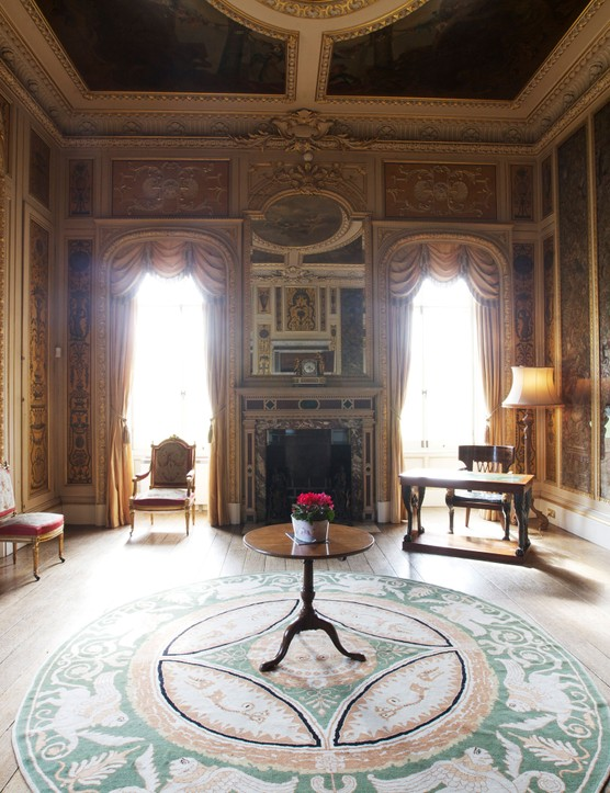 The music room inside Highclere Castle, Downton Abbey