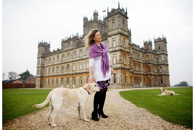 Countess Carnarvon outside Highclere Castle, the home of Downton Abbey