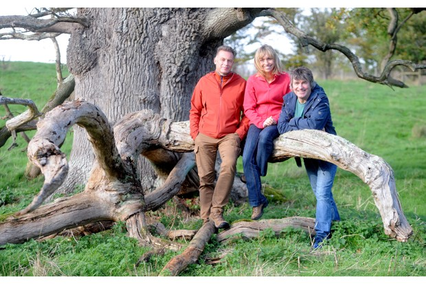Autumnwatch presenters Chris Packham, Michaela Strachan and Martin Hughes-Games, seen at the National Trust Sherborne Park Estate on October 22, 2017 in Gloucestershire, England (Getty)