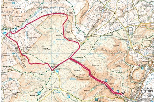 Long Mynd Shropshire map