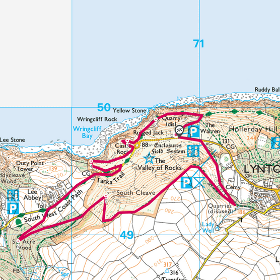 Valley of Rocks map