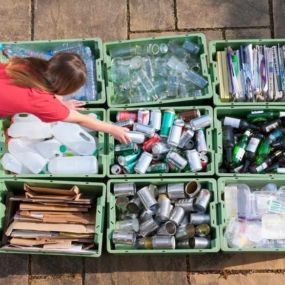 Girl organising recycling