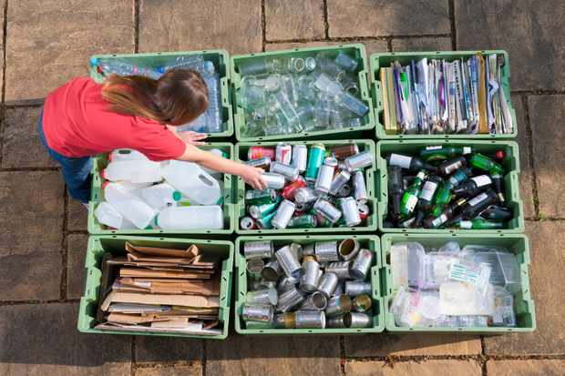 Girl organising recycling