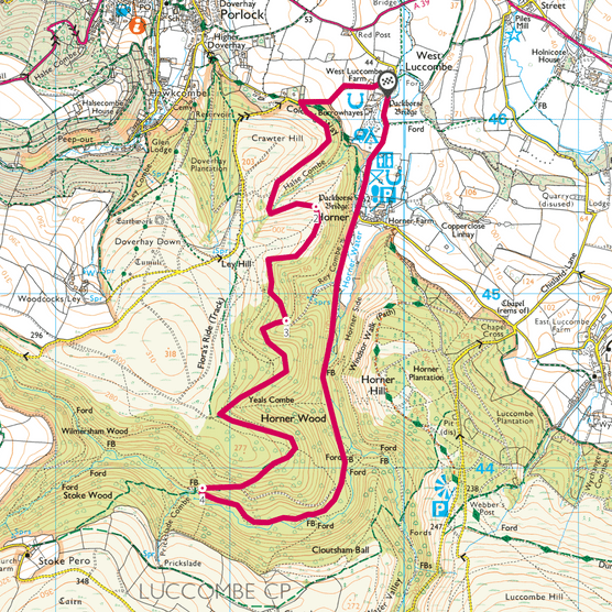 Horner Valley, Somerset map