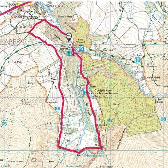 Aber Falls map