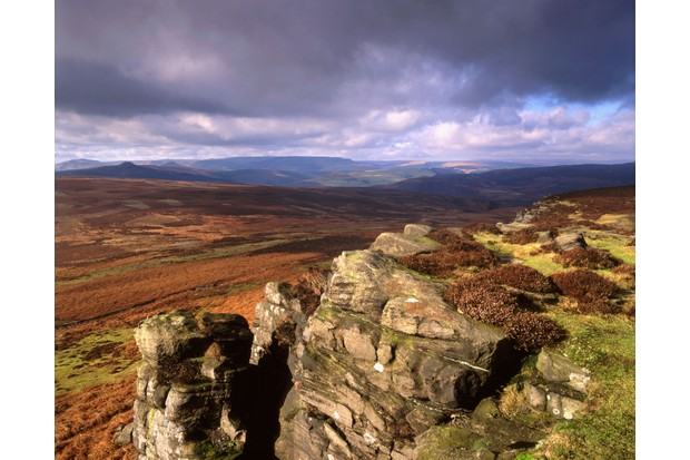 Dark clouds over Stanage Edge in the Peak District National Park. (Getty Images)