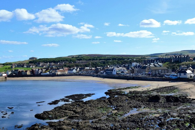 A view of the coastal town of Eyemouth in South East Scotland.