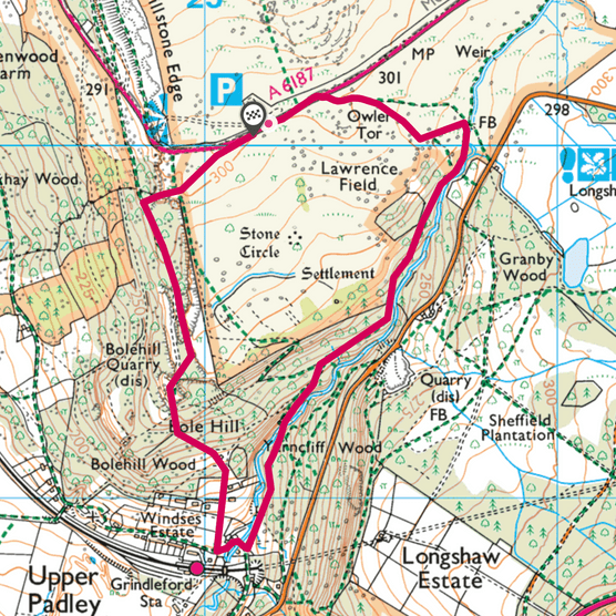Padley Gorge map